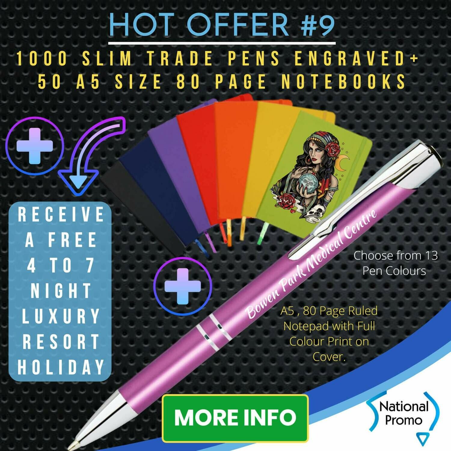 1000 SLIM TRADE PENS + 50 A5 80 PAGE NOTEBOOKS + get a FREE HOLIDAY
