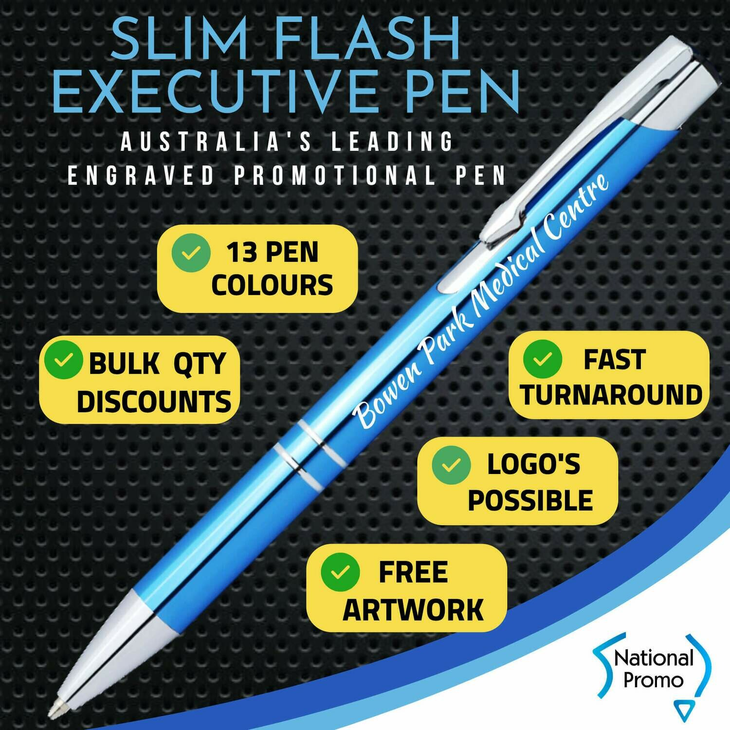 SLIM FLASH / TRADE Metal Engraved Pen FREE DELIVERY