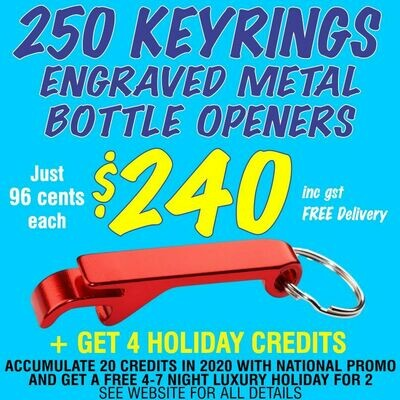 250 Keyring Bottle Openers for $240 with FREE DELIVERY
