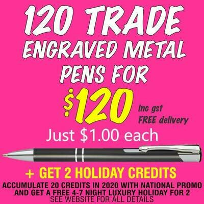 120 Metal Slim Trade Pens for $120 with FREE DELIVERY