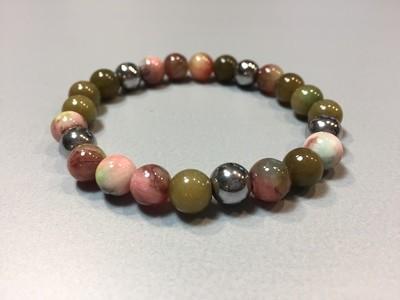 Armband mit Hematit Jade und Naturstein