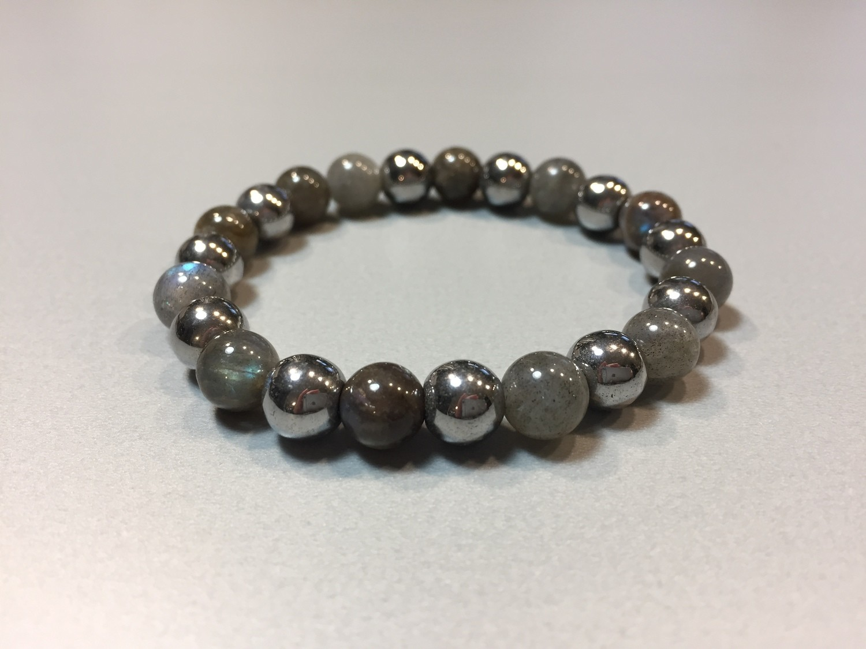 Armband mit Labradorit  Jade und Naturstein