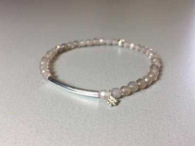 Armband Achat mit Steg und Blümchen Silber