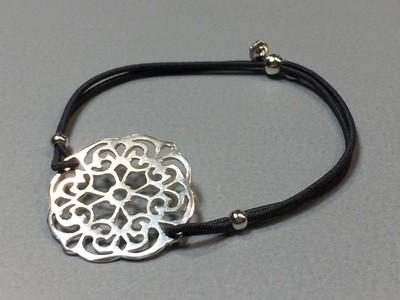 Elastisches Armband mit Mandala Silber
