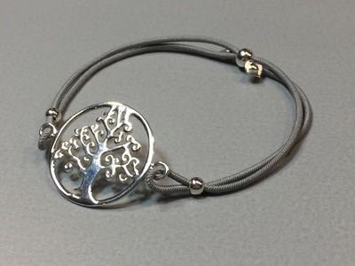 Elastisches Armband mit Lebensbaum Silber