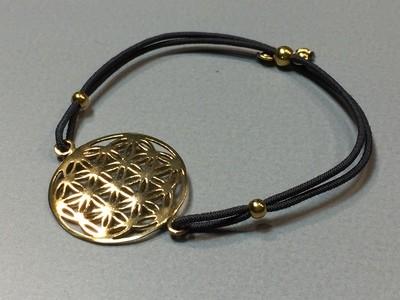 Elastisches Armband mit Lebensblume Silber vergoldet