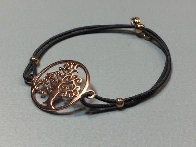Elastisches Armband mit Lebensbaum Silber rose vergoldet