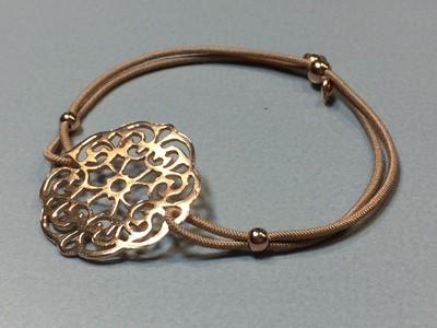 Elastisches Armband mit Mandala Silber rose vergoldet