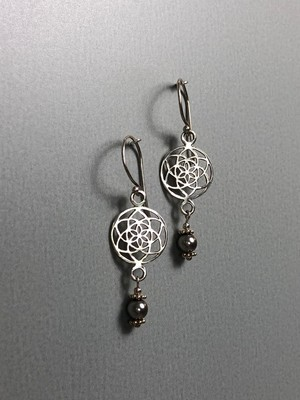 Ohrhänger Lebenskreise Silber mit Swarovskiperlen