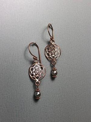 Ohrhänger Lebenskreise Silber rose vergoldet mit Swarovskiperlen