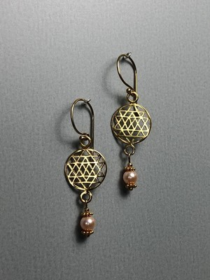 Ohrhänger Lebensblume Silber vergoldet mit Swarovskiperlen