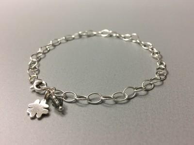 Gliederarmband mit Kleeblatt Silber