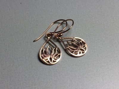 Ohrhänger Lotustropfen Silber rose vergoldet