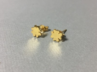 Ohrstecker Kleeblatt Silber vergoldet