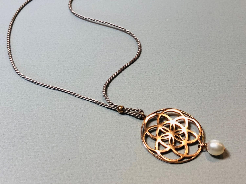 Seidenkette Samen des Lebens Silber rose vergoldet