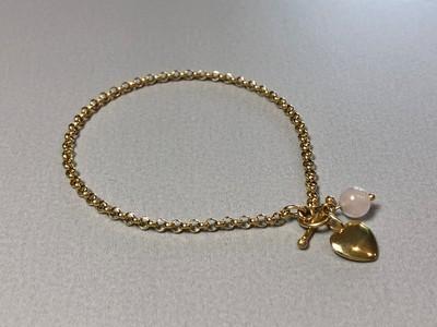 Silberarmband vergoldet mit Herz und Rosenquarz