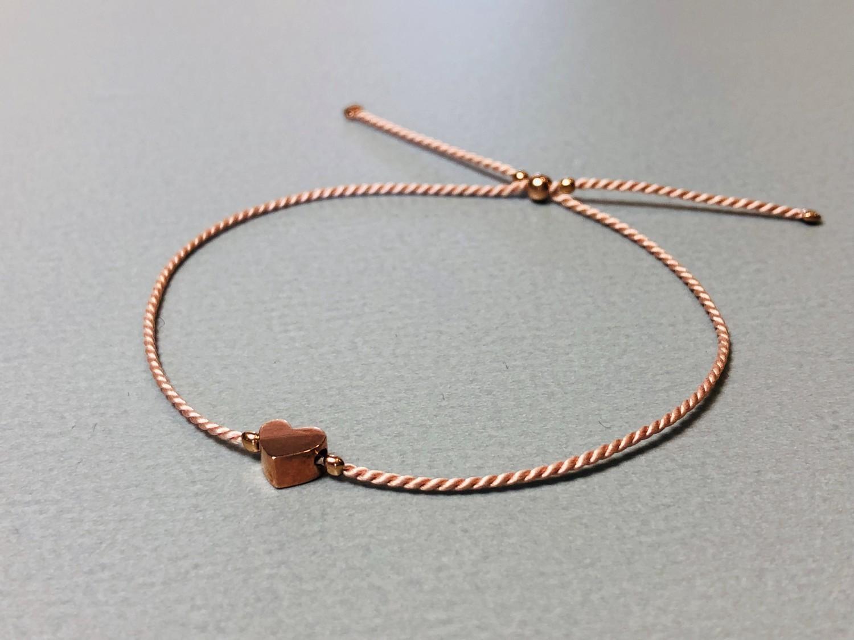 Seidenarmband mit Herz Silber rose vergoldet