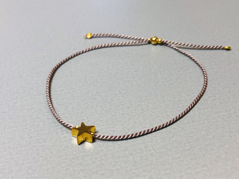 Seidenarmband mit Stern Silber vergoldet