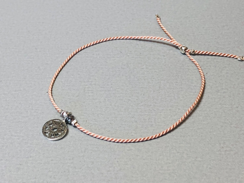 Seidenarmband mit Sonne Silber