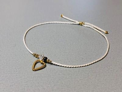 Seidenarmband mit Herz Silber vergoldet