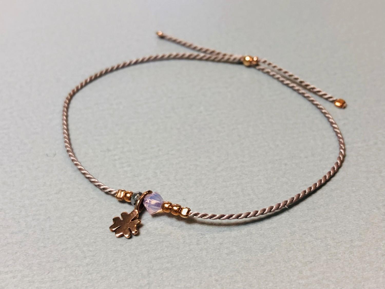 Seidenarmband mit Kleeblatt Silber rose vergoldet