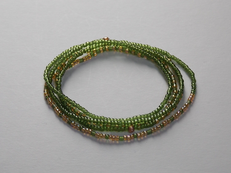 Stretch-Armbandkette grün goldgelb