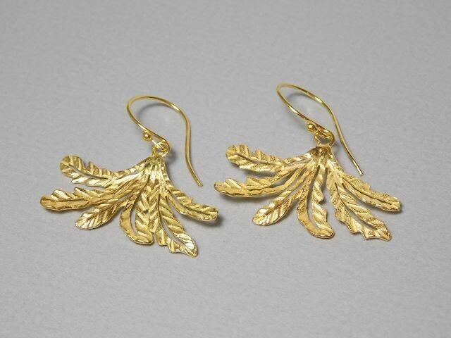 Ohrhänger Silber vergoldet mit Fächerblatt