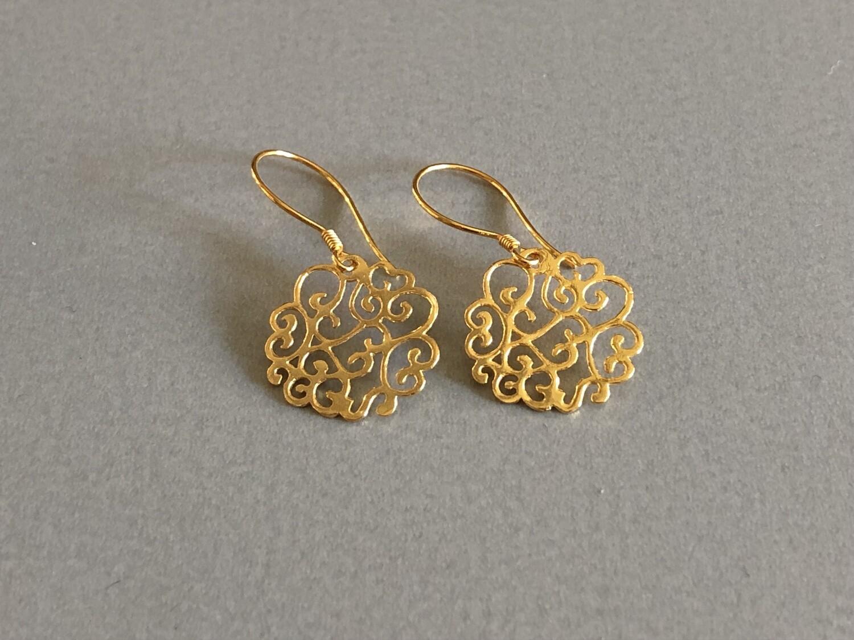 Ohrhänger Ornament Silber vergoldet