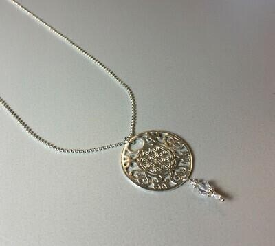 Kugelkette mit großem Mandala Silber
