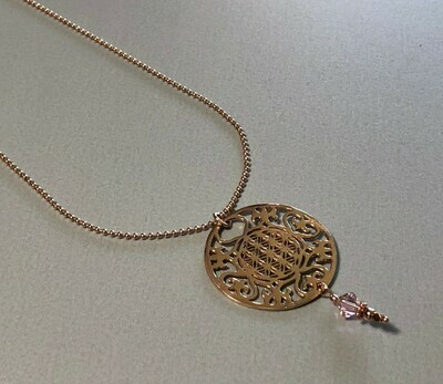 Kugelkette mit großem Mandala Silber rose vergoldet