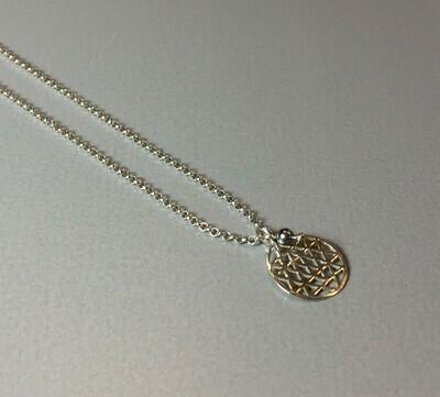 Kurze Halskette mit Lebensblume Silber