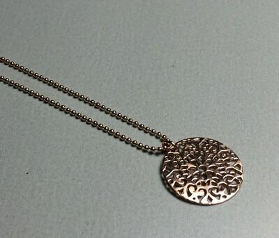 Kurze Kugelkette mit Ornament Silber rose vergoldet