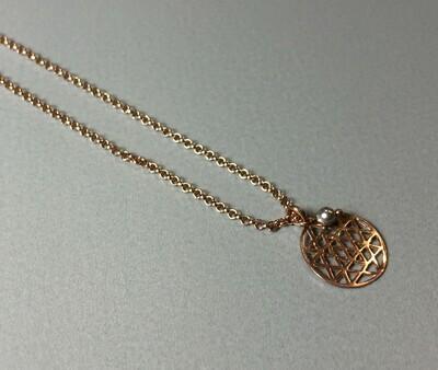 Kurze Halskette mit Lebensblume Silber rose vergoldet