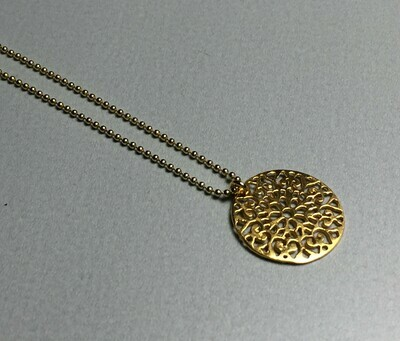 Kurze Kugelkette mit Ornament Silber vergoldet