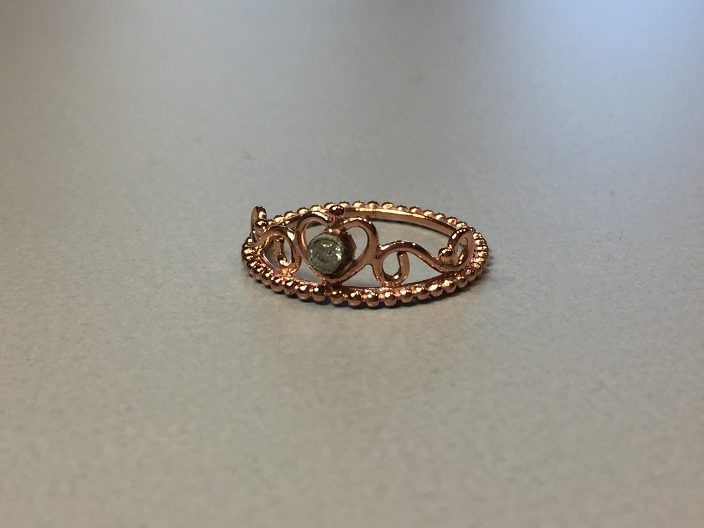 Silberring rose vergoldet Krone