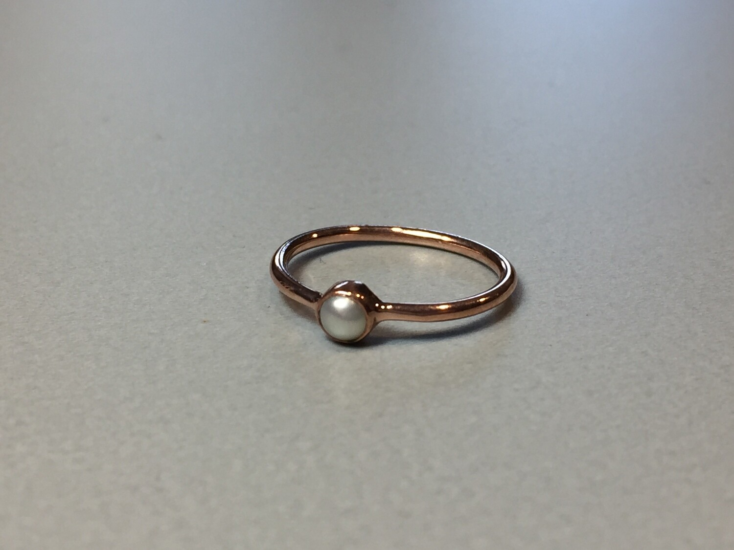 Silberring rose vergoldet mit Miniperle