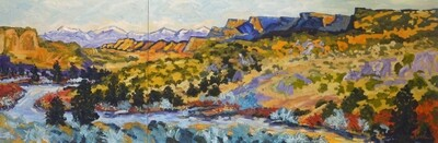 View of the River 2, diptych,  24x72