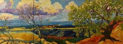 Mesa Thunderstorm, diptych, 24x66