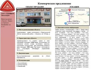 Объект недвижимости - Арзамасский р-он с. Абрамово пл. Победы д. 6