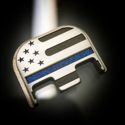 American Flag w/ Thin Blue Line - Brushed - Titanium Back Plate