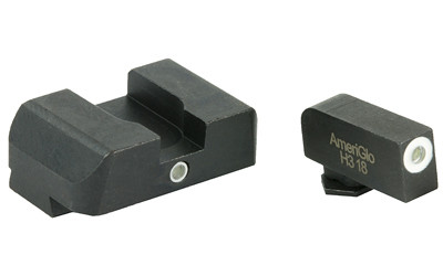 AmeriGlo I-Dot 2 Dot Sights for Glock Green w/ White Outline, Front & Rear Sights