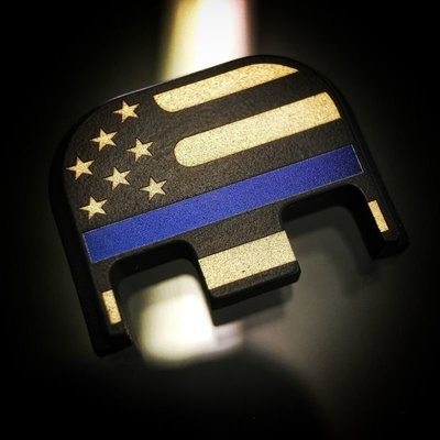 American Flag (Traditional) - Thin Blue Line - Titanium Back Plate - Black Cerakoted