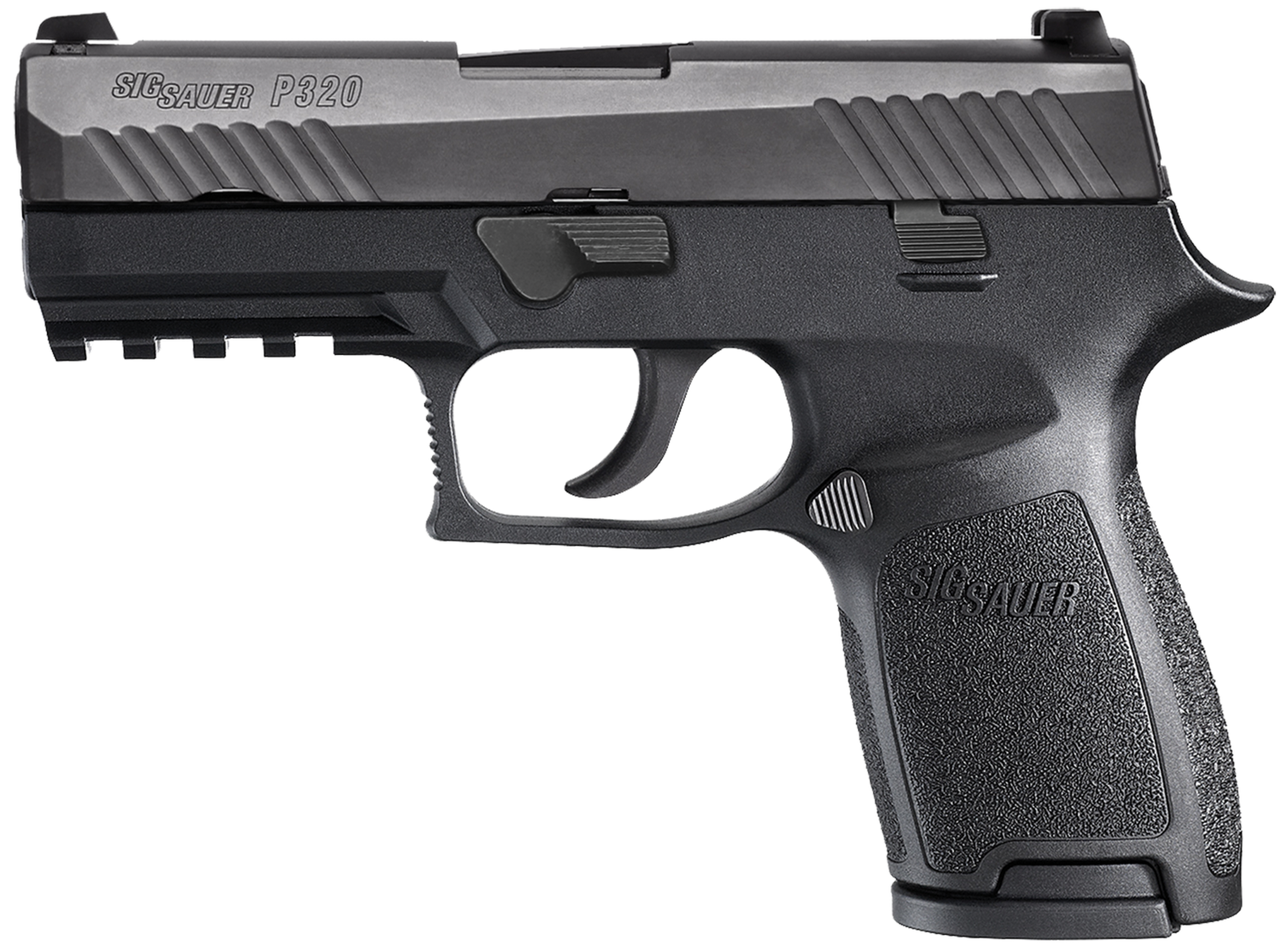 """80% Sig Sauer - P320 Compact Double 9mm Luger 3.9"""" 15+1 - 2 Mags - Black Polymer Grip - Black Nitron Stainless Steel"""