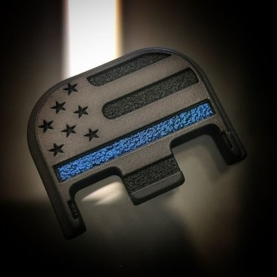 American Flag - BLACKOUT Thin Blue Line - Titanium Back Plate - BLK Cerakoted