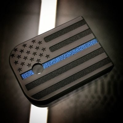 American Flag w/ Thin Blue Line - Black Cerakoted Titanium Mag Plate