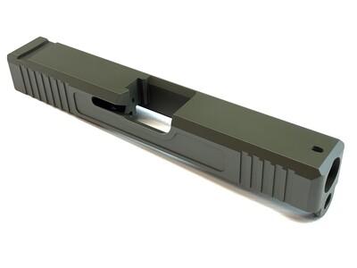 Glock 19 Slide w/ Front & Rear Serrations - Recessed Windows - OD Green