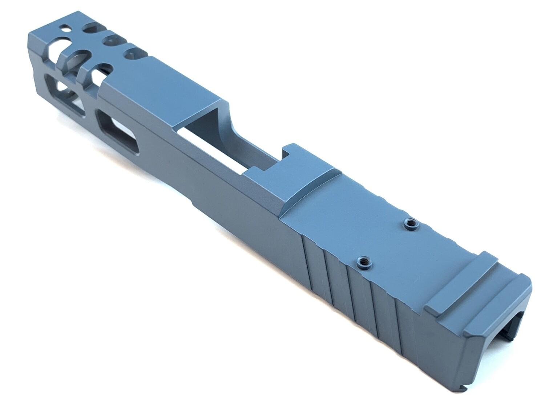 Custom Glock 19 Stainless Steel 9mm Slide - Rear Serrations - Windowed - Trijicon RMR Cut - Jesse James Blue