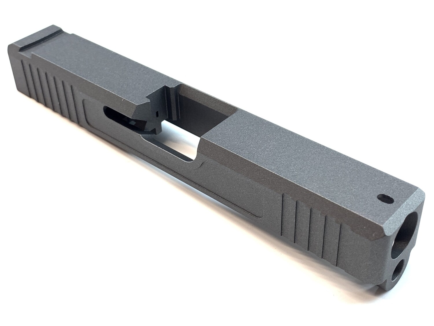 Glock 19 Slide w/ Front & Rear Serrations - Recessed Windows - Tungsten