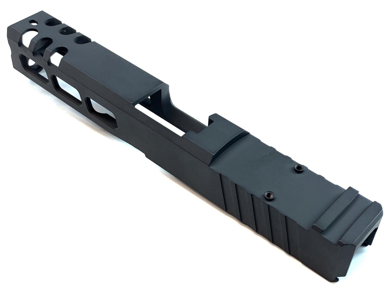 Custom Glock 17 Full Size 9mm Stainless Steel Slide - Rear Serrations - Windowed - Trijicon RMR Cut - Black