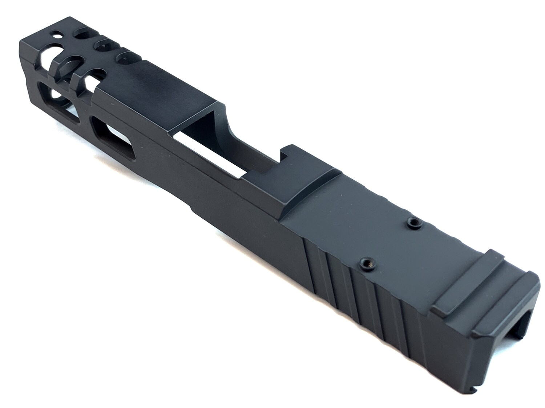 Custom Glock 19 Compact 9mm Stainless Steel Slide - Rear Serrations - Windowed - Trijicon RMR Cut - Pick Your Color